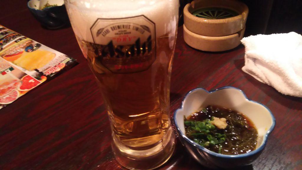 ビールともずく酢